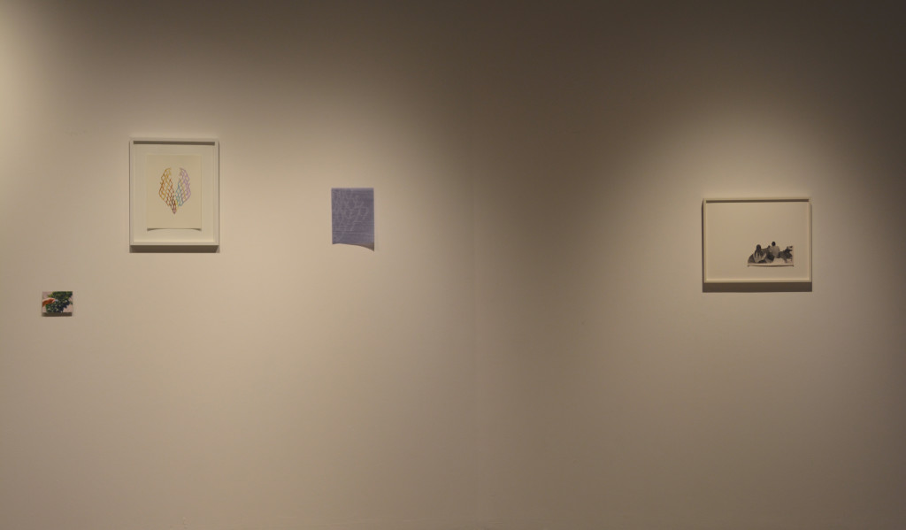 "From left:  Maggie Groat, ""Seven light wonder exercise (teach magic to children),"" 2009, 35 mm photograph.  Barbara Hobot, ""Untitled (curtain #3),"" 2014, acrylic, collage on  paper.  Barbara Hobot, ""Small Net,"" 2014, white ink on purple velum.  Maggie Groat, ""New Visions,"" 2013, modified found photograph."